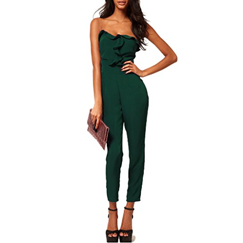 mywy - Tuta fascia volants donna elegante jumpsuit nera overall verde party rompers, colore verde, taglia M