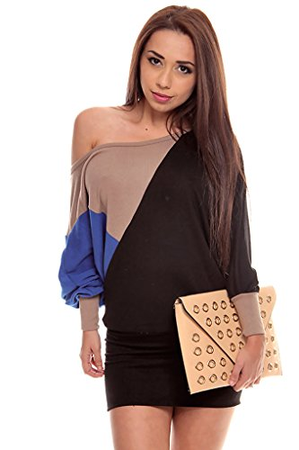 Lolli Couture Off The Shoulder Long Sleeve Sweater Dress Top Black/Tan/Royal M front-958305