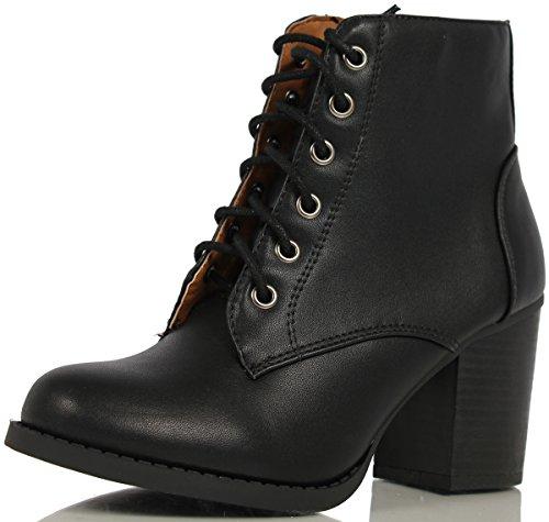 Soda-Women-Korman-Cute-Chunky-Lace-Up-Leatherette-Zipper-Ankle-Bootie