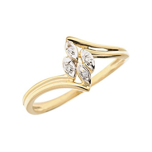 14K Yellow Gold Diamond Leaf Ring (Size 8)