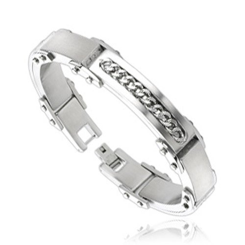 316L Stainless Steel Silver Color Cuban Link Inlayed Bracelet
