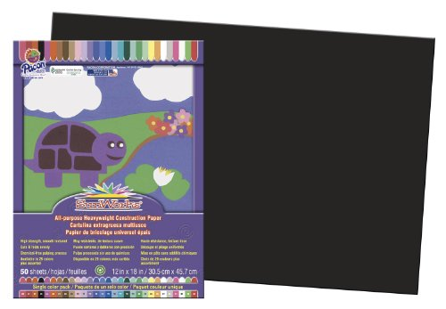 "Sunworks Construction Paper, 12""x18"", Black, 50 Sheets (6307) - 1"