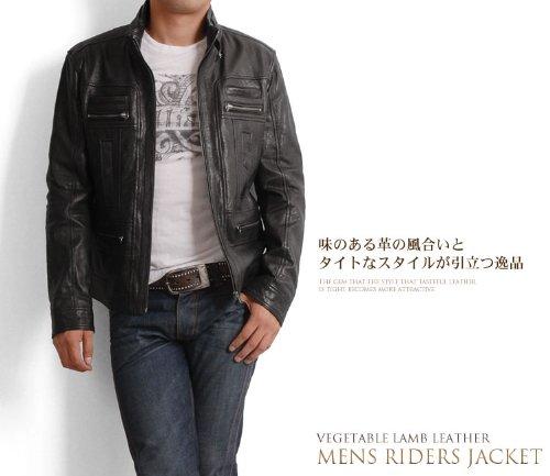 シープスキン ラム ブルゾン シングル ライダース ベジタブル加工 羊革 ヒツジ革 ラム革 本革 メンズ : LL ブラック