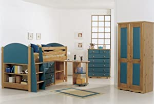 MIDSLEEPER CABIN BED IN BOYS BLUE WITH CHEST DRAWERS, BOOKCASE AND DESK, PLUS A SPRUNG MATTRESS FROM CENTURION PINE