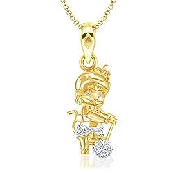 V. K. Jewels Bal Hanuman Gold And Rhodium Plated Brass Kids Pendant For Girls - P1265G [Vkp1265G]