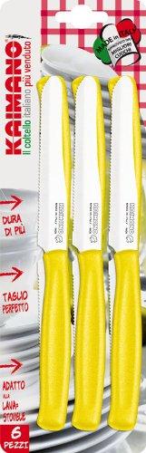 Kaimano KDN021506G 6 Coltelli Tavola Lama Dentata Dinamik Giallo