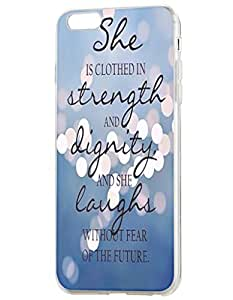 OOFIT Apple iPhone 6 (4.7 inches) Case - Christian Quote She is Clothed with Strength & Dignity She Laughs without Fear of the Future/ Misty Lights