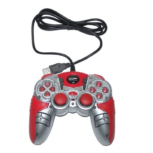 USB Double Dual Shock Joypad Game & Computer Controller - Red & Silver