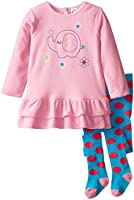 Gerber Baby and Little Girls' 2 Piece Embroidered Micro Fleece Dress with Tights