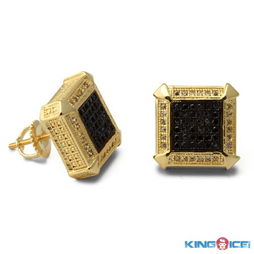 King Ice Gold Plated Two Tone Urban Earrings