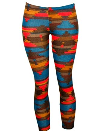 Teal and Red Native American Inspired Aztec Print Leggings (Small)