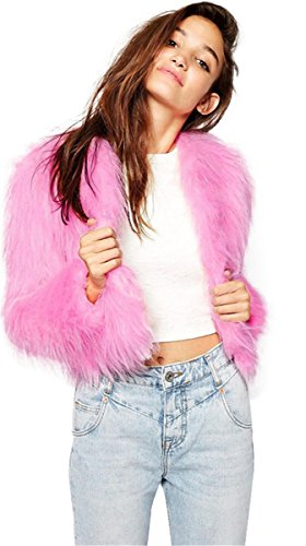 Sexy Pink Princess Faux Fox Fur Winter Warm Short Coat Outwear Top M (Sexy Fur Coat)