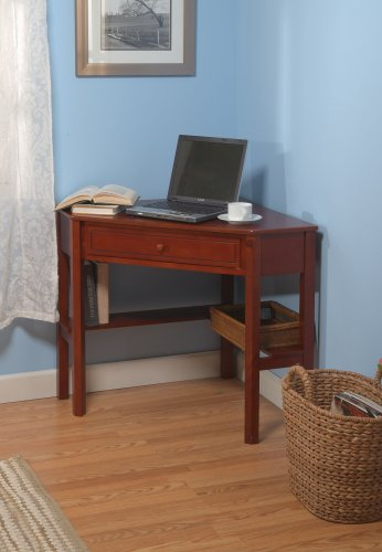 wood corner computer desk cherry finish table work bedroom. Black Bedroom Furniture Sets. Home Design Ideas