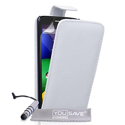 Yousave Accessories Motorola Moto E Tasche Weiß PU Leder Klapp Hülle Mit Mini Griffel Stift