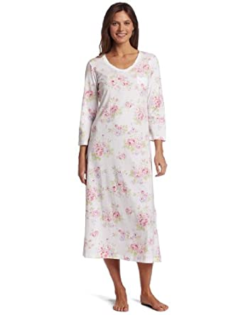 Carole Hochman Women's Floral Tea Pots Long Gown, White, Small