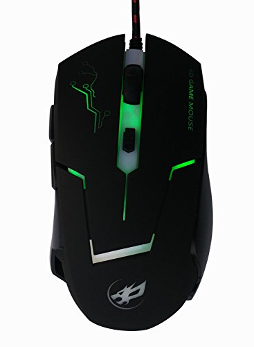 Alta precisione DPI simmetrico Optical Mouse USB cablata con 6 pulsanti Wired Gaming Mouse, ergonomico Mouse nero per Pro Gamer