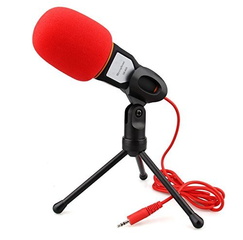 Condenser-MicrophoneBuycitky-Mic-with-Stand-for-PC-Laptop-Skype-Recording-with-Windscreen-Sponge-Sleeve