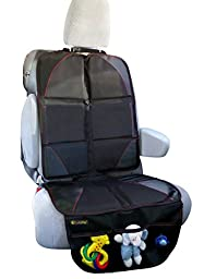 Car Seat Protector - Reliable Pad for Leather Seats in Luxury Cars - 3 Mesh Organizer Pockets - Works Great with Children and Pets - Waterproof and Summertime Protection - 100% Satisfaction Guaranteed!