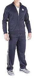 Vertical Sport Men\'s 2 Piece Jacket Pants Track Suit JS10 (XLarge, Navy)