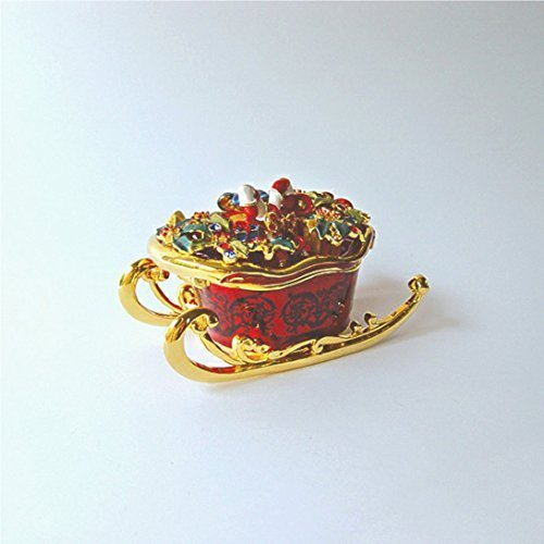 Exquisite Christmas Sleigh Box with Swarovski Crystals Jewelry, Trinket or Pill Box figurine, 3.5 by Sparkling Collectibles