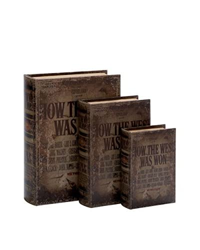 Set of 3 How the West Was Won Book Boxes, Dark Brown