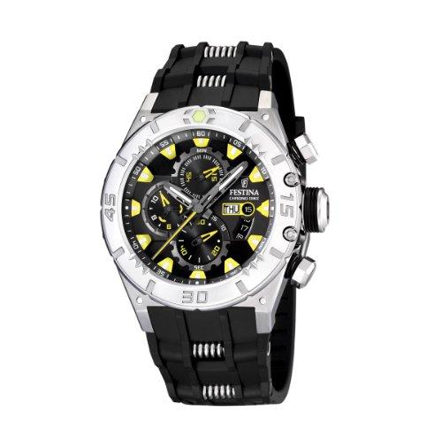 FESTINA F16528/2 - Reloj de caballero de cuarzo, correa de caucho color negro (con cronómetro)