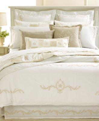 Martha Stewart Trousseau Crest 300T King Pillow Sham Ivory front-977394