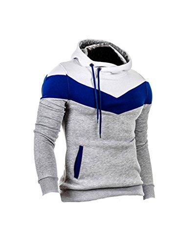 Zacoo Uomo Con Cappuccio Maglione Camicia Size XXL Grigio chiaro+ Bianco