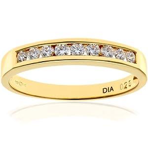 Ariel 18ct Yellow Gold Channel Set Half Eternity Ring, IJ/I Certified Diamonds, Round Brilliant, 0.25ct