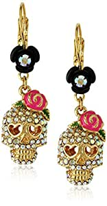 Betsey Johnson Women's Betsey Vampire Crystal Skull Earrings Crystal/Pink Drop Earrings