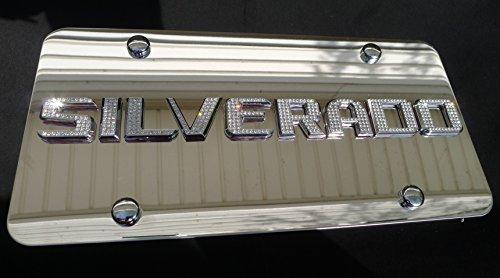 Chevy Silverado Chrome License Plate Tag with Swarovski Iced Out Crystal Emblem (Chevy Emblem Crystal compare prices)