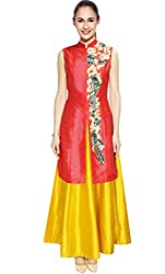 Rozdeal Coral Bird Thread Embroidered Jacket Kurta With Yellow Skirt Semi Stitched Lehenga