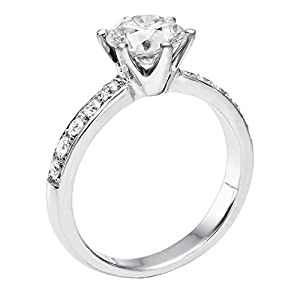 IGI Certified 14k white-gold Round Cut Diamond Engagement Ring (0.77 cttw, H Color, SI2 Clarity)