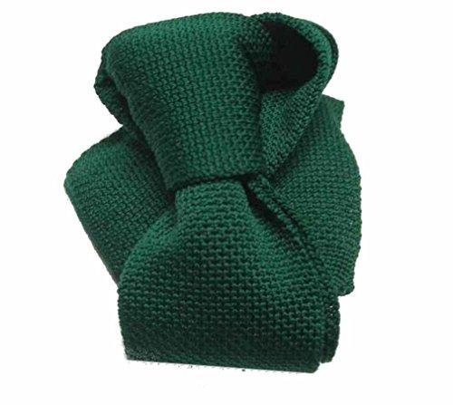 Avantgarde - Cravatta Tricot Maglia Tinta Unita Nera Verde Bordeaux Made Italy Fine Slim, Colore: Verde Scuro