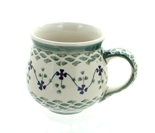 polish-pottery-sage-floral-bubble-mug-by-blue-rose-pottery
