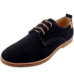 DADAWEN Men\'s Leather Oxford Shoe Black US Size 9