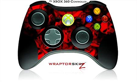 XBOX 360 Wireless Controller Decal Style Skin - Skulls Confetti Red (Controller Not Included)