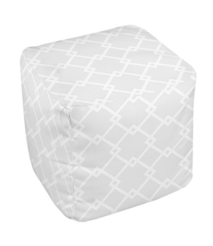 E by design FG-N10-Paloma_White-18 Geometric Pouf