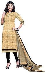 D WINE Women's Cotton Unstitched Salwar Suit (Beige)