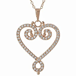 Alexandria Collection Rose Gold-plated Sterling Silver Cubic Zirconia Filigree Heart Necklace