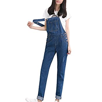 MFrannie Vintage Washed Ripped Slim Boyfriend Style Overall Pant