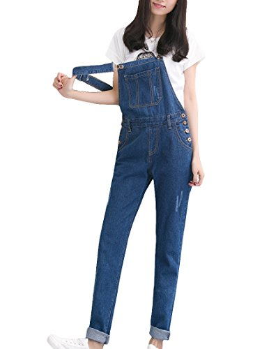 MFrannie Vintage Washed Ripped Slim Boyfriend Style Overall Pant 0