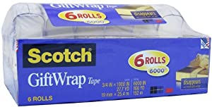 "Scotch Gift Wrap Tape - 3/4"" X 1000 Inches - 6 Rolls"