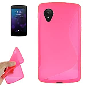 S Line Anti-skid Frosted TPU Case for Google Nexus 5 (Magenta)