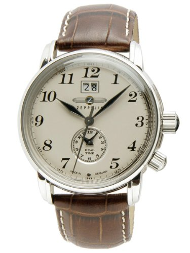 Zeppelin-Dual-Time-Brown-Leather-Strap-Watch-With-Date-Function