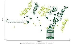 OneHouse Fluttering Branches of Leafs Birds and A Birdcage Wall Sticker from OneHouse