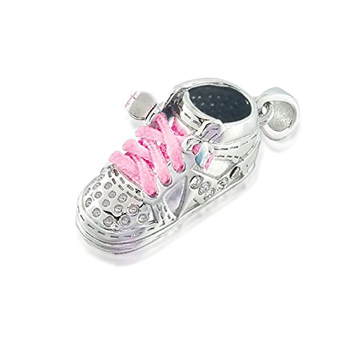 Bling Jewelry Silver Cz High Top Sneaker Pink Baby Shoe Charm Pendant front-219155