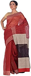 Studio J Women'S Khaadi Saree (ABC0015, Red & Black)