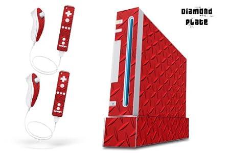 Nintendo Wii Console Skin - Diamond Plate Red