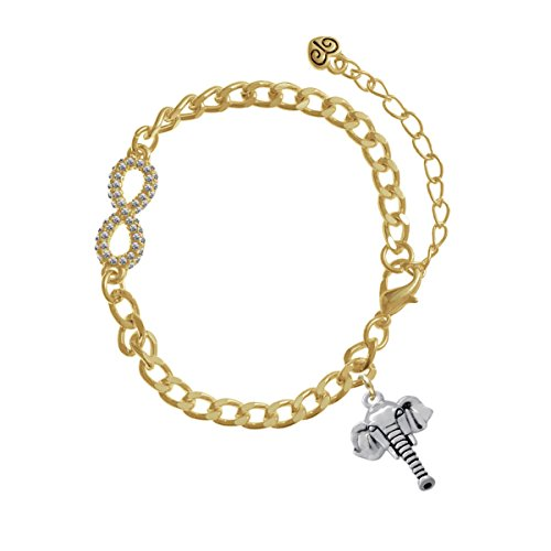 Elephant Head Gold Crystal Infinity Bracelet